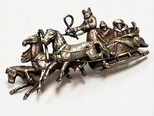 Antique 1800's Russian Silver Troika Cossack Brooch Figural Horse Driven Sleigh