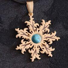 EGUZKILORE amuleto DORADO piedra turquesa COLGANTE acero IDEA REGALO país vasco