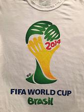 FIFA World Cup 2014 logo Adidas Brasil Futbol Soccer White T-Shirt Sz. M
