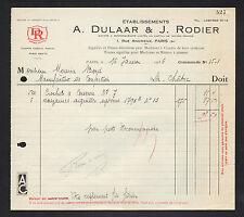 """PARIS (VIII°) AIGUILLES pour MACHINES à COUDRE """"A. DULAAR & J. RODIER"""" en 1936"""