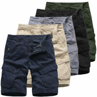Mens Cargo Shorts Combat Army Work Casual Knee Length Travel Pants Multi Pockets