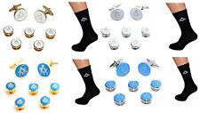 Masonic Cufflinks & Dress Shirt 5 Studs + Mens Socks No G Gift Set