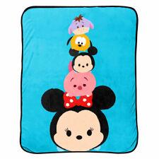 Disney Tsum Tsum Faces Coral Plush Throw Blanket Mickey, Minnie, Pluto, Piglet +