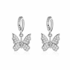 2021 Chic Crystal Butterfly Earrings Hoop Drop Dangle Ear Women Jewelry Gifts