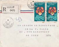 French Colonies Regd MANJO Air Mail 1969 Delonix Regia Stamps Cover Ref 44691