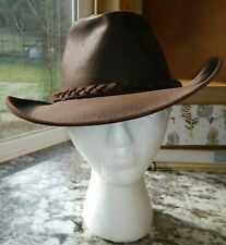 Henchel Hat Co Vtg Brown Leather Distressed Aussie Bush Hat Made in USA MED