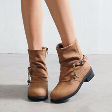 2019 Womens Lady Solid Ankle Ladies Boots Flat Booties Casual Winter Shoes Size