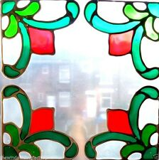 4 Victorian Corner Window Clings - In silver leaded stained glass effect..