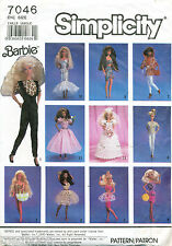 SIMPLICITY SEWING PATTERN 7046 BARBIE FASHION DOLL RETRO CLOTHES - FORMAL STYLES