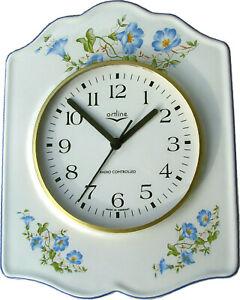 141807F Keramik Küchenuhr artline Schild Form Glockenblumen hellblau  Funkuhr