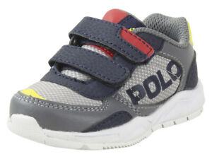 Polo Ralph Lauren Toddler Boy's Chaning-EZ Grey/Navy/Red Sneakers Shoes Sz: 6T