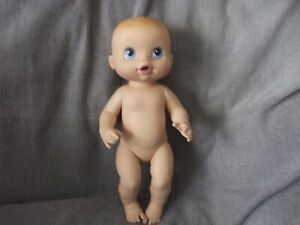 """13"""" Hasbro Baby Alive drink and wet doll 2008 blue eyes blond molded hair"""