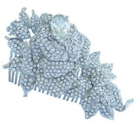 Wedding Bridal Rose Flower Hair Comb Clear Rhinestone Crystal FSE04512C1