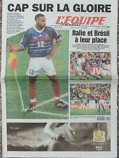L'Equipe du 28/6/1998 - Foot : Avant France-Paraguay - Italie et Brésil