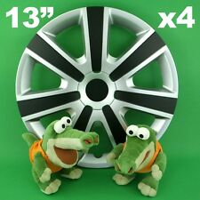 "Hubcaps 13"" VR 4 x Wheel Trim Cover SILVER+BLACK for ROVER 200 SEAT Ibiza"