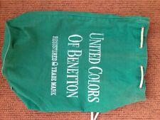 United Colours of Benetton Duffle Bag Green cotton retro drawstring gym kit bag
