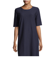 NEW NWT $238 Eileen Fisher Midnight Navy Blue Washable Crepe Dress PLUS SIZE 3X