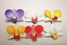 Set of 6 ~ Hawaiian Tropical Wedding Bridal Party Orchid Foam Flower Hair Clips