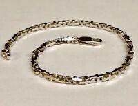 """10k Solid White Gold Anchor Mariner Bullet Link  Bracelet 3.1 MM 9.6 grams  9"""""""