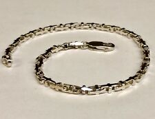 10k Solid White Gold Anchor Mariner Bullet Link  Bracelet 3.1 MM 8 grams  7.5""