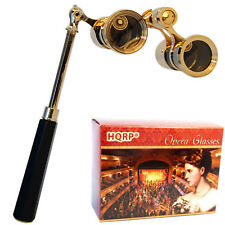 Improved Black Opera Glasses with Gold Trim & Elegant Lorgnette Foldable Handle