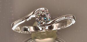 massiver Sterling Silber 925 Solitär Ring mit Zirkonia Ø ca. 5 mm zierlich zart