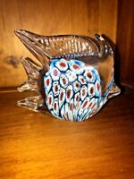 Vintage MURANO GLASS Paperweight Coral Reef OCEAN BLUE Inside ANGEL FISH ❤️m17