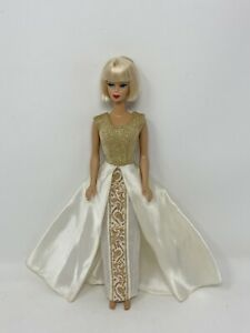 Vintage PREMIER Clone Barbie Clothes Doll GOLD  Metallic and Satin GOWN #92