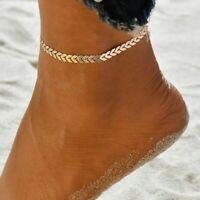 Women Ankle Bracelet 925Silver Arrow Gold Anklet Foot Chain Beach Beaded Jewelry