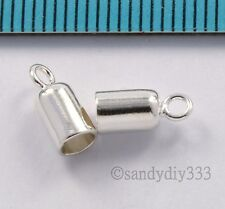 10x STERLING SILVER BRIGHT 3mm CORD LEATHER END CAP BEAD #2652