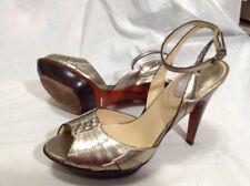 Cole Haan Nike Air 8 M B Gold Platform Open Toe Ankle Strap Heels Sandal Shoes