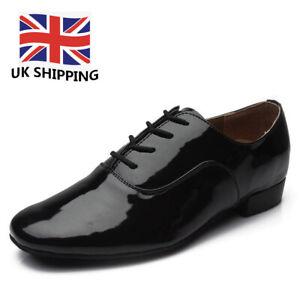 Ballroom Men Latin Dance Shoes Tango Salsa Black Heels Leather Adult Boys UK HWC
