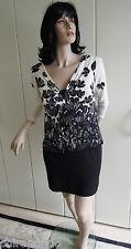 Kleid Gr. 40 Gr. 42 schwarz weiß stretchig sexy Tulpen zeitlos class