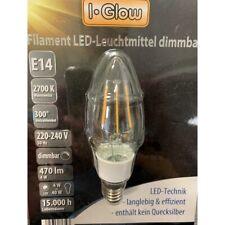 I-Glow LED Filament Leuchtmittel Kerze 4W = 40W E14 klar warmweiß 2700K DIMMBAR