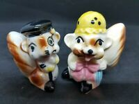 Antique Ceramic Squirrel Couple, Japan Salt and Peppers with Cork Stoppers