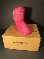 Girls Arctic Paw Boots Sparkle & Bow Size 12 Pink