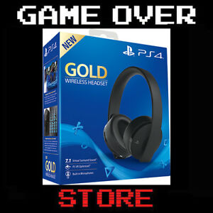 CUFFIE GOLD WIRELESS SONY PLAYSTATION 4 2.0 STEREO 7.1 GIOCO HEADSET VIDEOGAMES