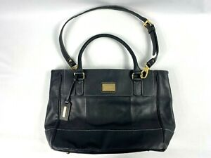 TIGNANELLO Black Leather Satchel Bag With Shoulder Strap and Gold Accents