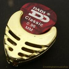 GOLD PICK HOLDER WITH FREE PLECTRUM NEW FOR GUITAR PLAY