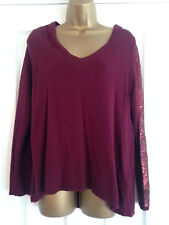 BNWT NEXT Burgundy Fine Knit Embellished Sleeves Jumper Sweater Size 10 RP £38