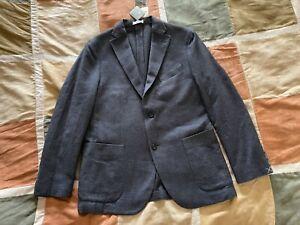 $1595 Boglioli navy birdseye k jacket wool cotton blazer sport coat 52 42 R NEW