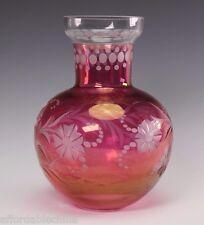 Ruby Flashed Hand Engraved Studio Glass Vase Ray or Raimundas & Raminta Lapsys