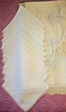"Vintage Linen Embroidered Open Work Filet Lace Tablecloth 12 Napkins 84""x68"""