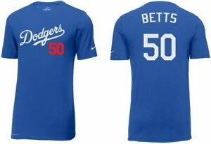 NIKE Dodgers #50 Mookie Betts 35 Bellinger 22 Kershaw 10 Turner SlimFit T-Shirts