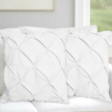 Pinch Plated European Euro Pillow Shams Set of 2PC White SOLID 500TC 100% COTTON