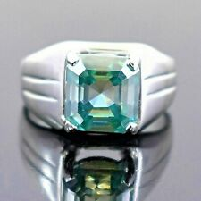 4.00 Ct Emerald Cut Blue Diamond Ring In Prong Setting, Great Shine WATCH VIDEO