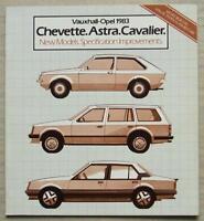 VAUXHALL OPEL CHEVETTE Astra CAVALIER 1983 Sales Brochure #V2594 Colour Chart