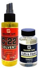 Walker Tape C-22 Solvent Remover 4 Oz + Ultra Hold Large Adhesive 3.4 Oz / 101ml