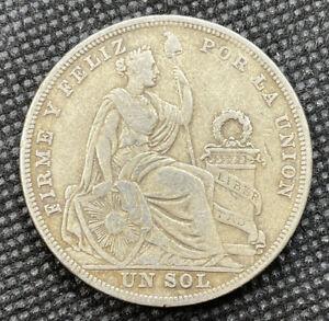 Peru 1924 Un Sol .500 Silver Coin - P82