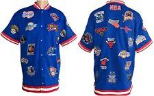 Vintage NBA USG Mens 3XL Jersey Patches Blue Snap Basketball Short Sleeve Jacket